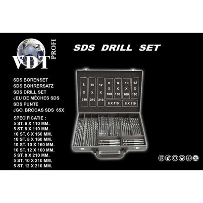VDT Borenset 65dlg. SDS.  Inclusief metalen sorteerkoffer