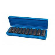 """Silverline power caps 10-piece set with 1/2 """"metric hex"""