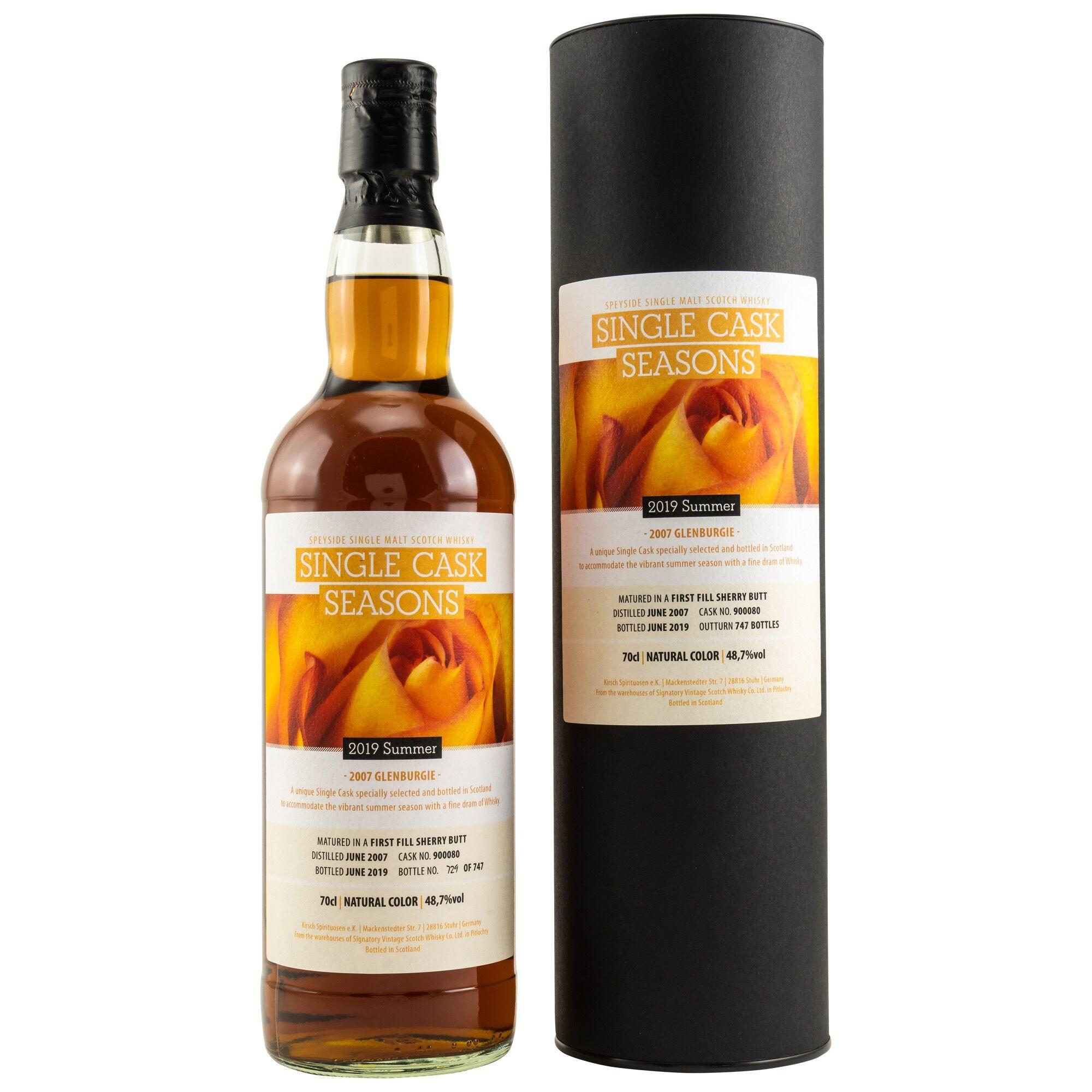 Neues von Kirsch Whisky: Single Cask Seasons Summer 2019: Glenburgie 2007/2019 1st Fill Sherry Butt