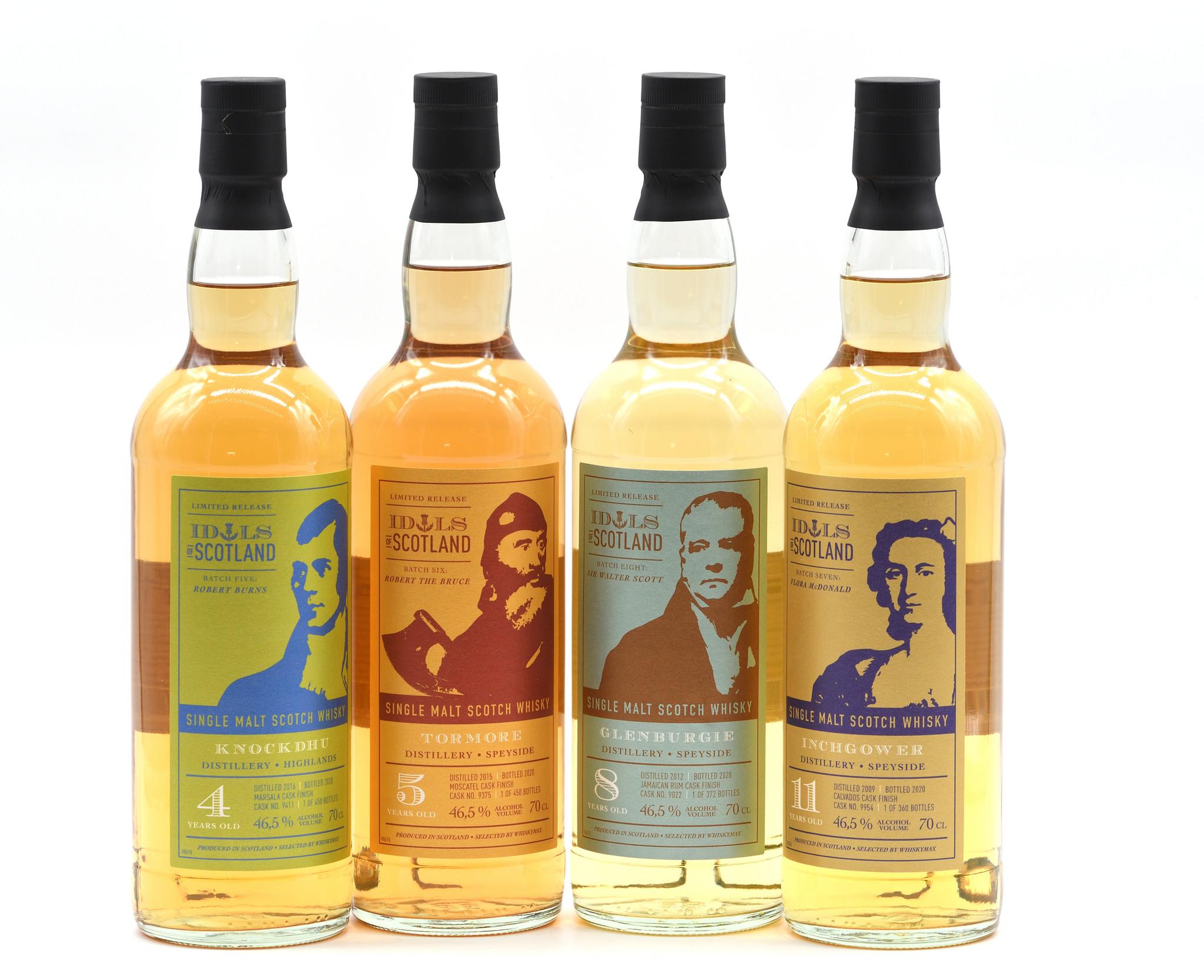 Whiskymax präsentiert vier neue Idols of Scotland Abfüllungen