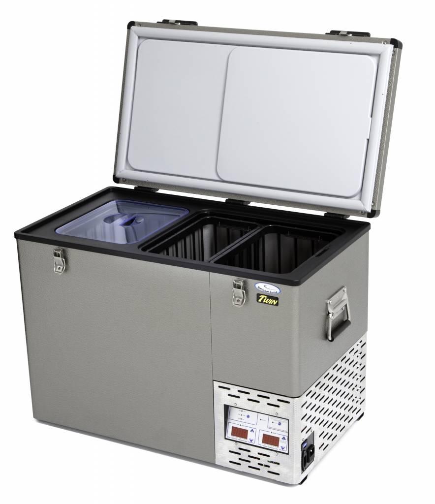 National Luna 60l Aluminum Twin Fridge/Freezer 12/24/220 Volt