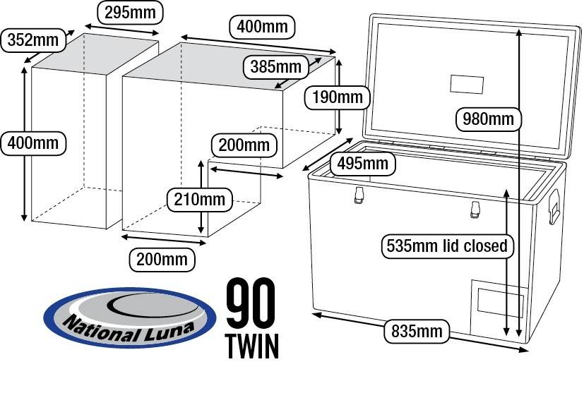 National Luna 90l Twin Fridge/Freezer 12/24/220 Volt