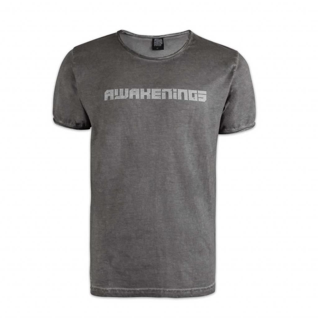 Awakenings t-shirt oil dyed grey men