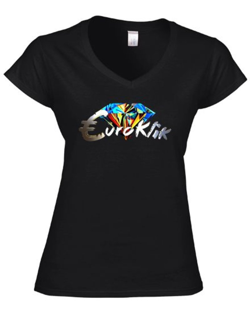 EUROKLIK EUROKLIK Color Diamond Basic T-shirt V neck Ladies