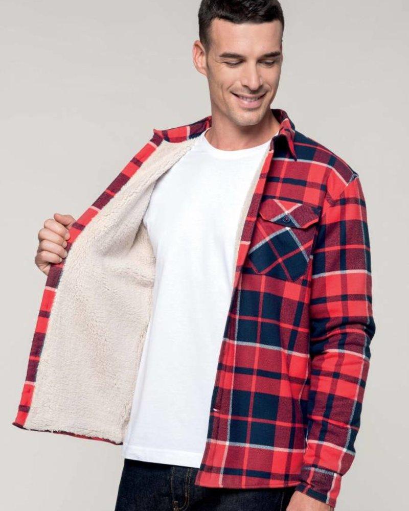 DOPE ON COTTON Geruit overhemd met sherpavoering
