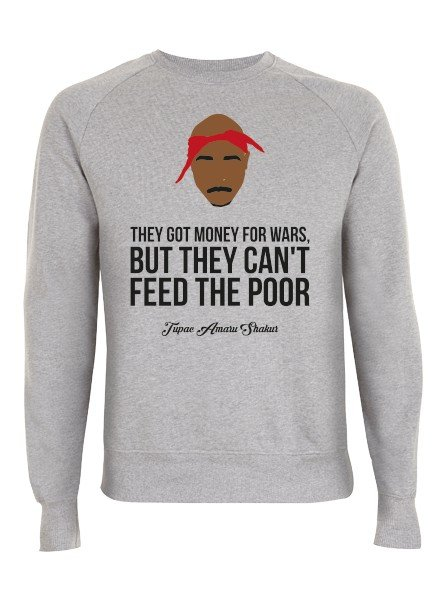 DOPE ON COTTON DOC Flat design Tupac They Got Money Organic Crewneck Sweater