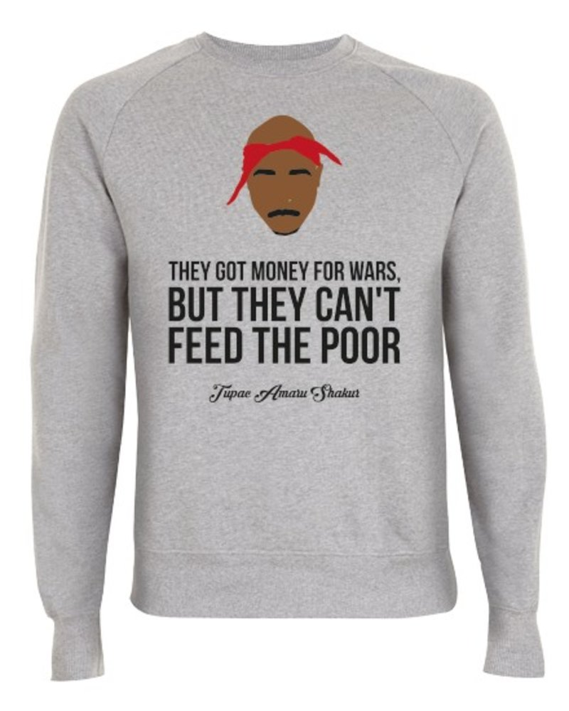 DOPE ON COTTON DOC Flat design Tupac They Got Money Organic Crewneck Sweater