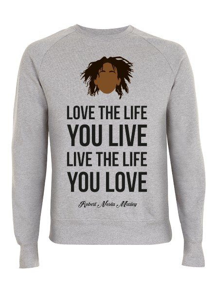 DOPE ON COTTON DOC Flat design Bob Marley Love Crewneck Sweater