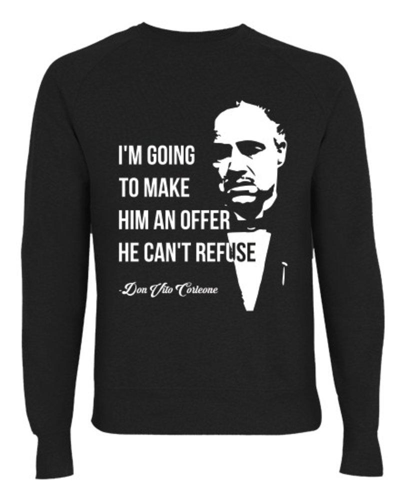DOPE ON COTTON DOC Flat design Godfather Organic Crewneck Sweater