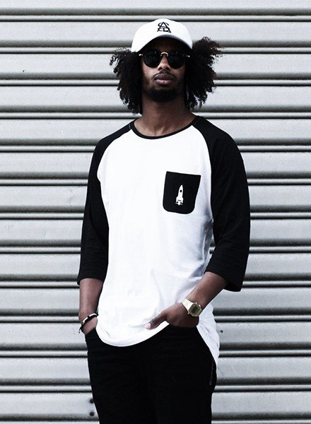 SATL (Sky Ain't The Limit) SATL Long baseball jersey (3/4 sleeves) White/ black