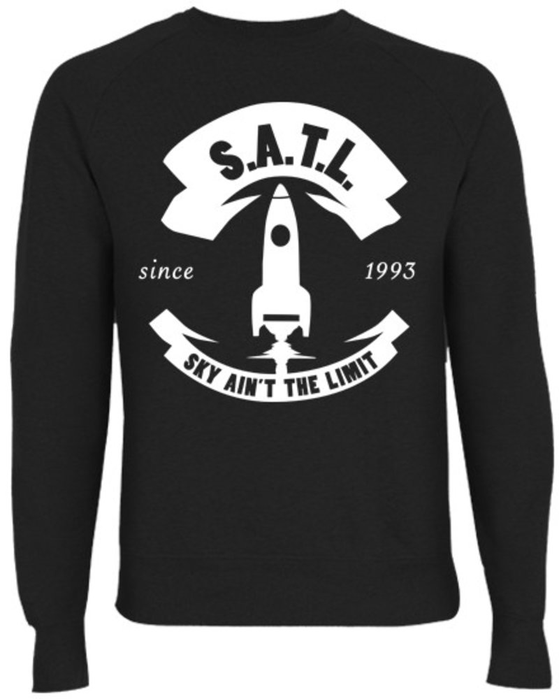SATL (Sky Ain't The Limit) SATL SLIMFIT ORGANIC CREWNECK SWEATER BIG ROCKET LOGO BLACK