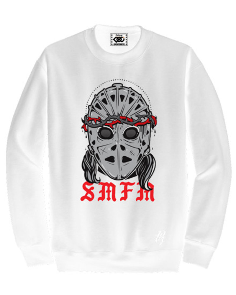 DOPE ON COTTON Sweater white SMFM red heat mask