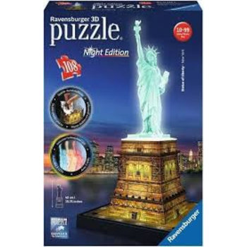 Ravensburger 3D Puzzel (108stuks) - Statue of Liberty (New York) - Night Edition