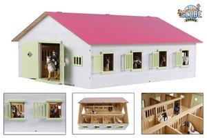 Kids Globe Paardenstal (72,5x60x37,5cm) met 7 boxen - roze