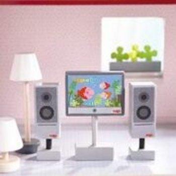 Haba Little Friends - TV + lampen (poppenhuismeubel)
