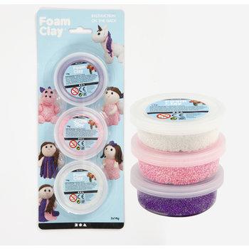 Creotime Foam Clay Set 3x14gr - paars (metallic)/wit (glitter)/roze (glitter)