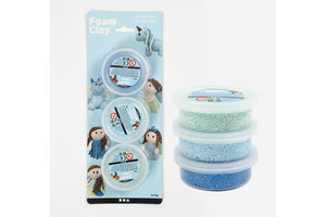 Creotime Foam Clay Set 3x14gr - blauw (metallic)/blauw (glitter)/groen (glitter)