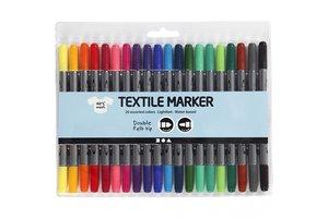 Creotime Textielstiften dubbele punt - 20 kleuren