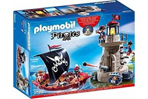 Playmobil Piratenboot en vuurtoren met soldaten - 9522