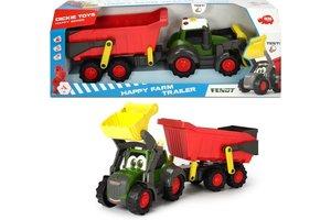 """Dickie Toys Happy Farm Trailer + Tractor """"Fendt"""" (65cm) met licht/geluid"""