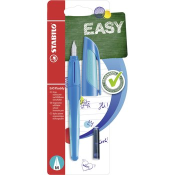 Stabilo Vulpen - STABILO EASYbuddy - Medium vulpen met uitwisbare blauwe inkt - donker blauw/licht blauw