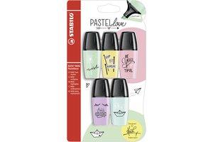 Stabilo Markeerstift pastel - STABILO BOSS MINI Pastellove editie - 5 mini markeerstiften pastel kleuren