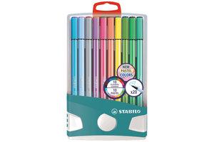 Stabilo Premium viltstift - STABILO Pen 68 - PastelParade 20 stiften - 10 pastel kleuren + 10 heldere kleuren