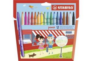 Stabilo Viltstift - STABILO power - Etui met 18 kleurstiften medium punt - tot 8 weken zonder dop - geassorteerde kleuren