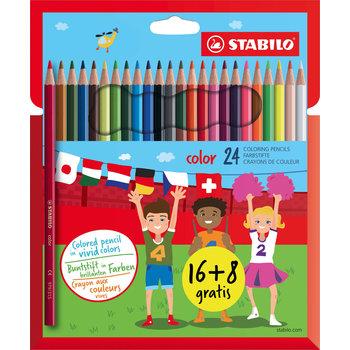 Stabilo Kleurpotlood - STABILO color - Etui 24 kleurpotloden 16+8 gratis - geassorteerde kleuren