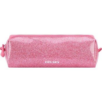 Delsey Pennenetui (rond) 1-vaks - Glitter (pink)