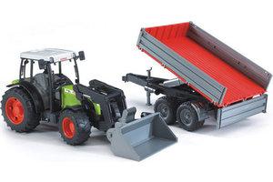 Bruder Tractor Claas Nectis 267 F met frontlader + aanhanger met zijschotten