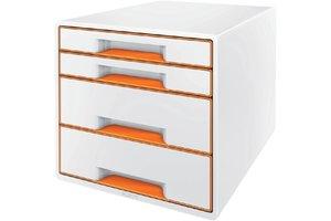 Esselte WOW desk cube 4 laden wit/oranje
