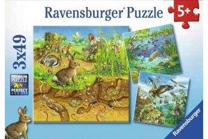 Ravensburger Puzzel (3x49stuks) - Dieren in hun leefomgeving
