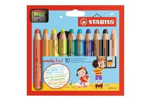Stabilo Stabilo Woody 3-in-1 + potloodslijper - Etui (karton) 10stuks