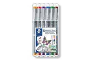 staedtler Pigment Liner 0,5mm - 6stuks (rood/blauw/oranje/groen/paars/bruin)