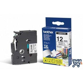 Brother Labeltape TZE-231 12mm x 8m - zwart/wit