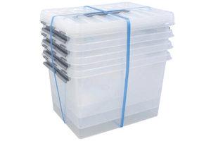 Suware Q-line Box 22L transparant/metaal (3+1 gratis)