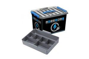Suware Q-line Electra Box 22L met inzet zwart/transparant-blauw