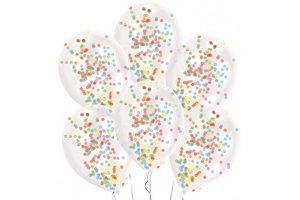 Ballonnen (latex) Confetti Filled - 6stuks (transparant)