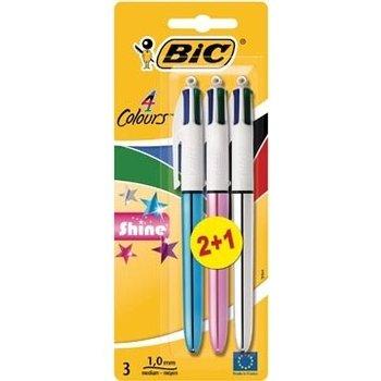Bic BIC 4-kleurenbalpen SHINE - 2+1 gratis