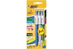 Bic BIC 4-kleurenbalpen Original/Shine/Fluo - 2+1 gratis