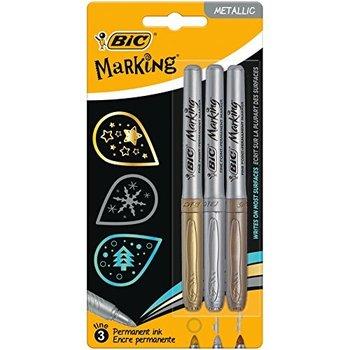 Bic BIC Permanent Marker Metallic - 3stuks (goud/zilver/brons)