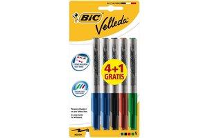 "Bic BIC Whiteboard Marker ""1741"" Velleda, ronde punt (medium) - 4+1 gratis"