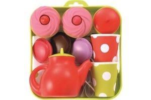 Theeservies dienblad met cupcakes