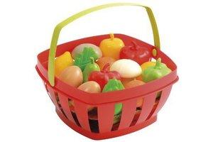 Mand gevuld met fruit en groenten