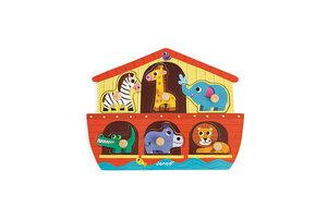 Juratoys Knopjespuzzel (hout) - Noach's Ark