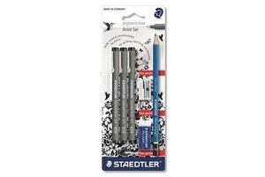 staedtler Pigment Liner 3stuks (0,3/0,5/0,7mm) + 1 potlood/puntenslijper/gom