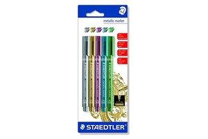 staedtler Metallic Marker 1-2mm - 5stuks (zilver/goud/rood/blauw/groen)