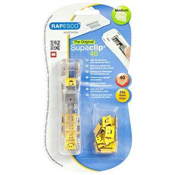 Rapesco Supaclip dispenser (40 papierklemmen) + 25 Emoji clips (geel)