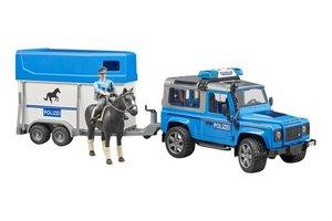 Land Rover Defender Politie Jeep met paardentrailer + paard